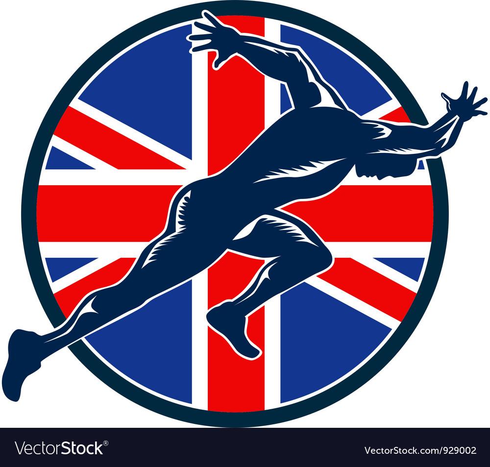 Runner sprinter start british flag circle vector