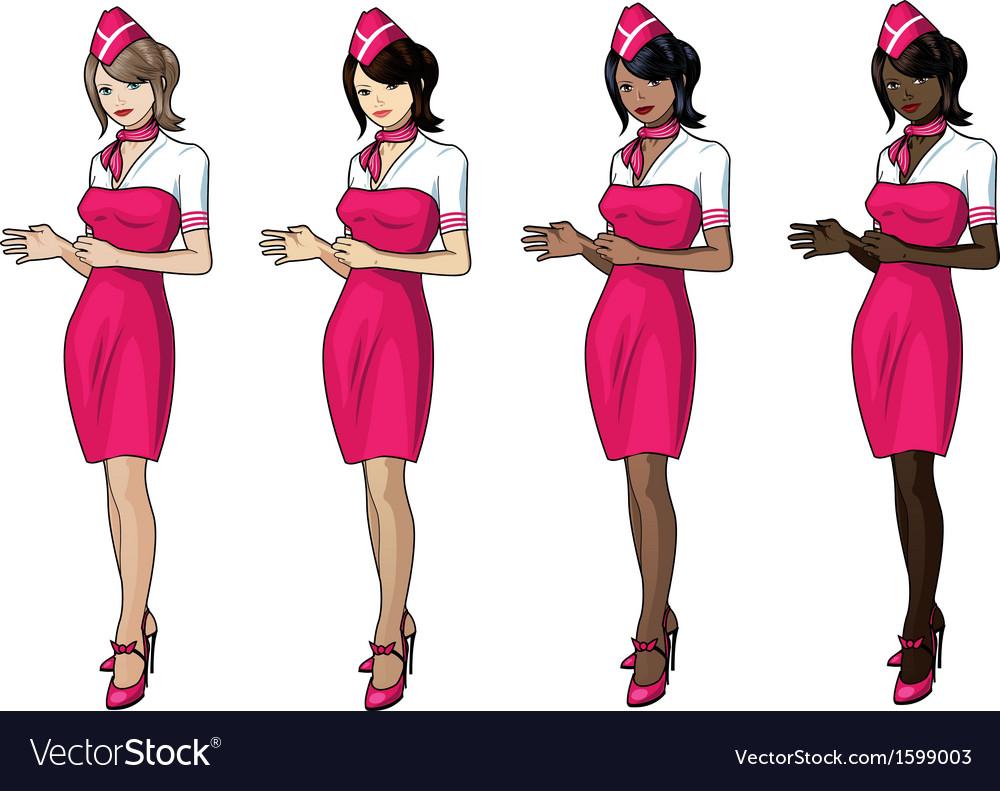 Air hostess vector