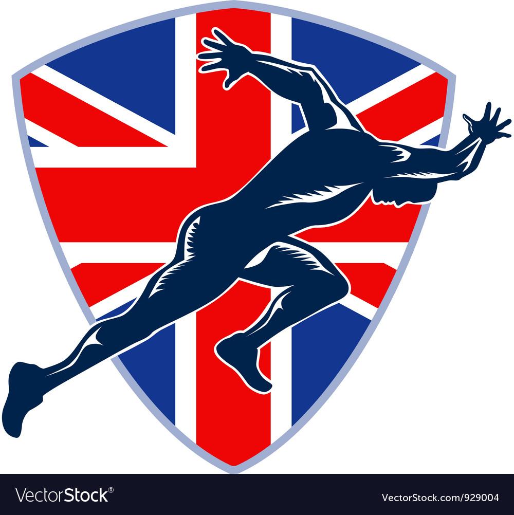 Runner sprinter start british flag shield vector