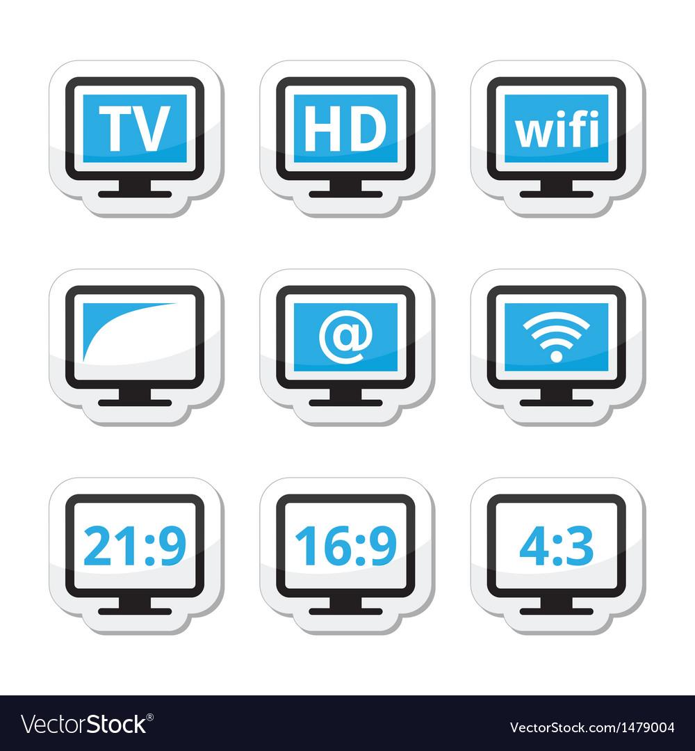 Tv monitor screen icons set vector