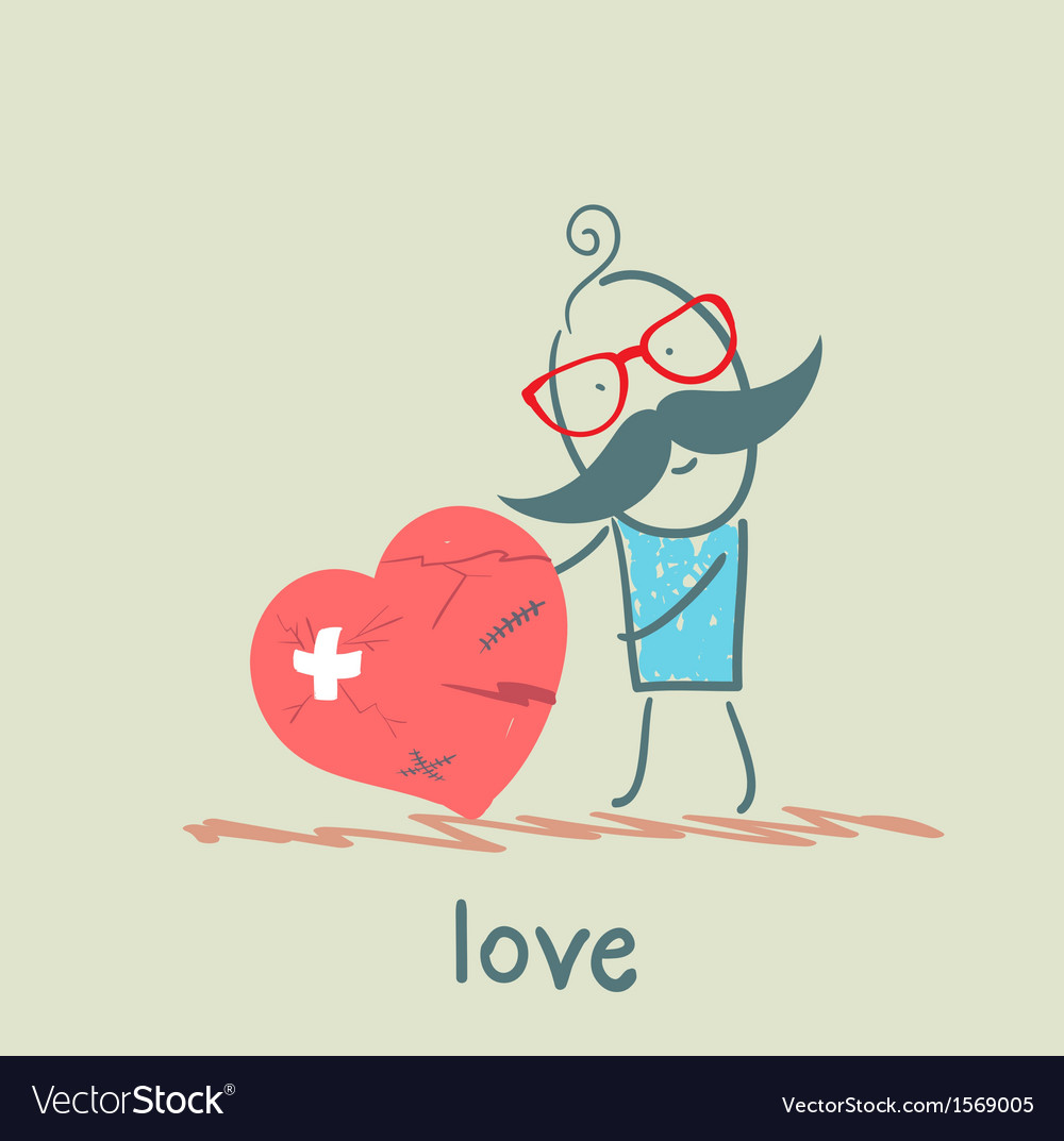 A man stands with a broken heart vector
