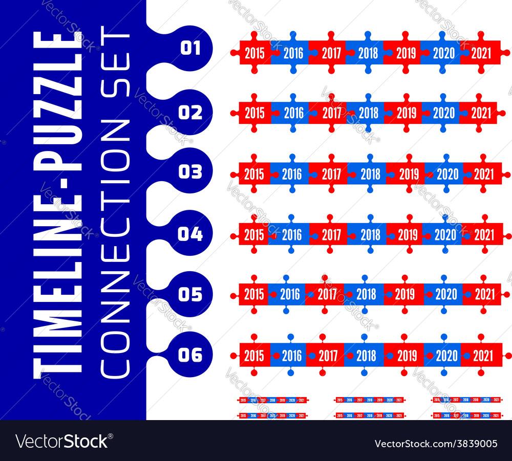 Timeline puzzle connection set vector