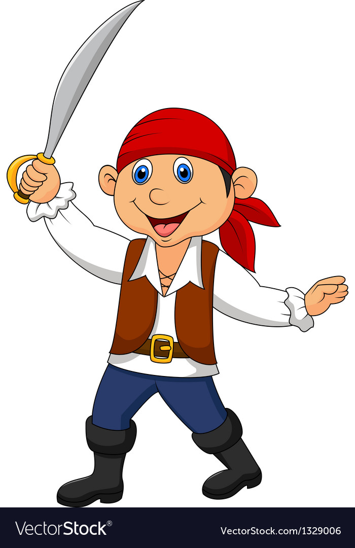 Cute pirate kid cartoon vector