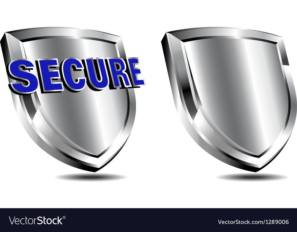 Silver secure shield spam and antivirus vector