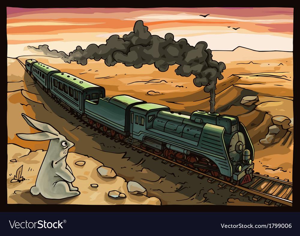 Steam locomotive and rabbit vector