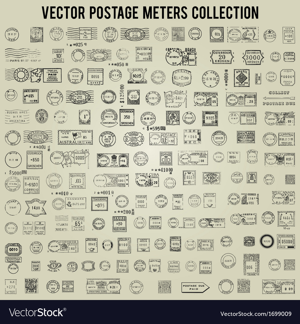 100 vintage postage stamps and meters collection vector