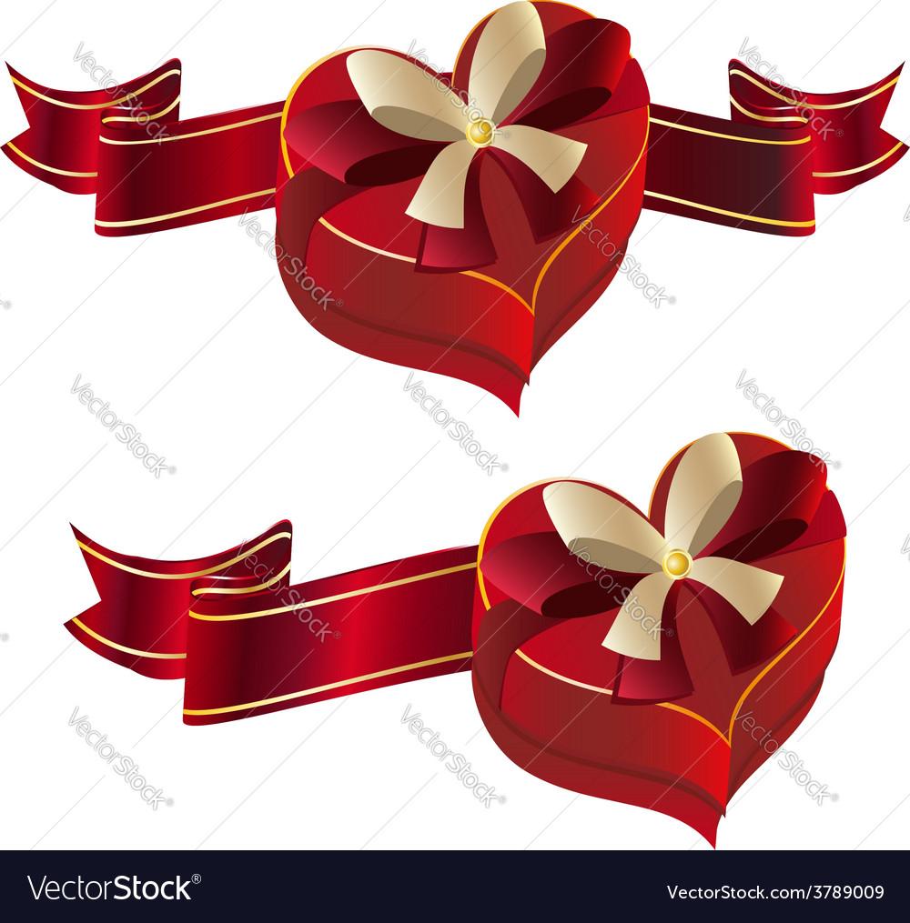 Heart shaped box with ribbon vector