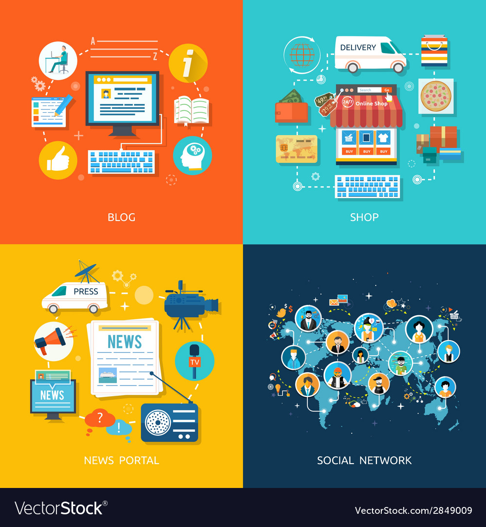 Social media and network connection concept vector