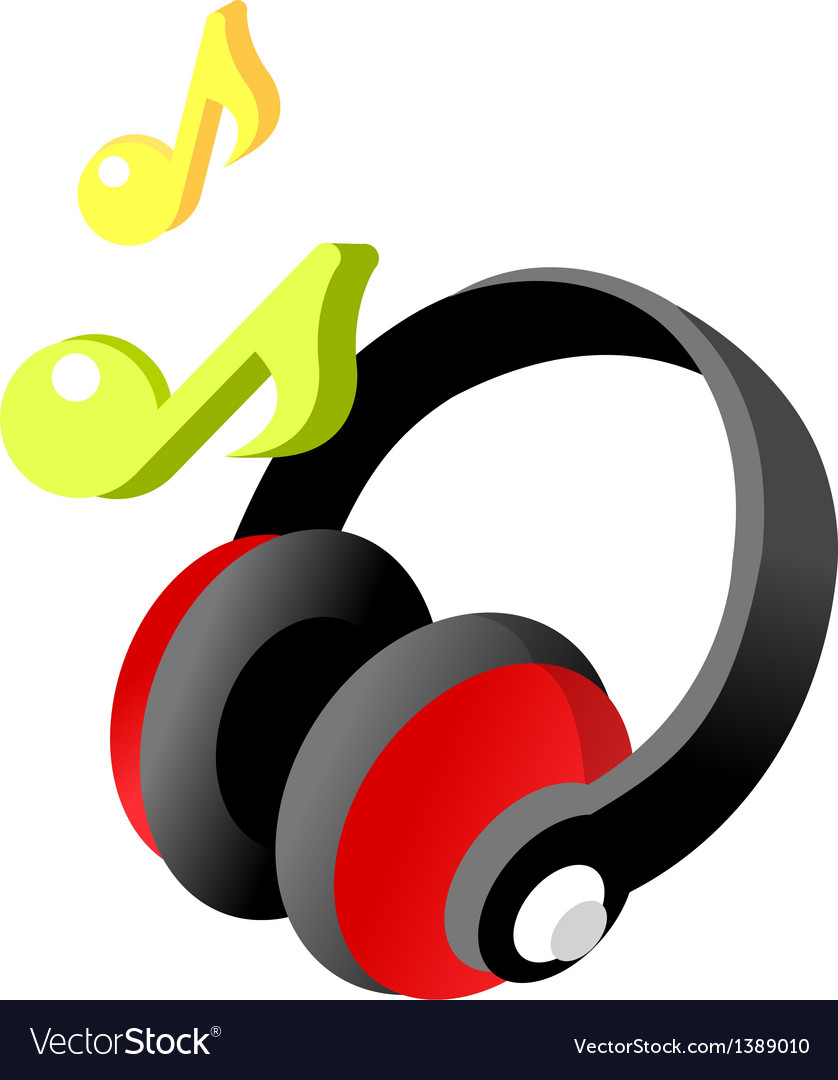 Icon headphone and musical note vector