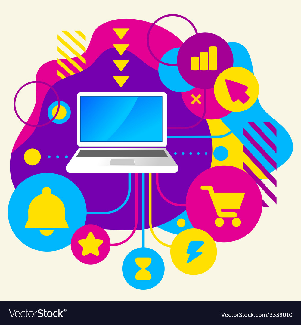 Laptop on abstract colorful spotted background vector
