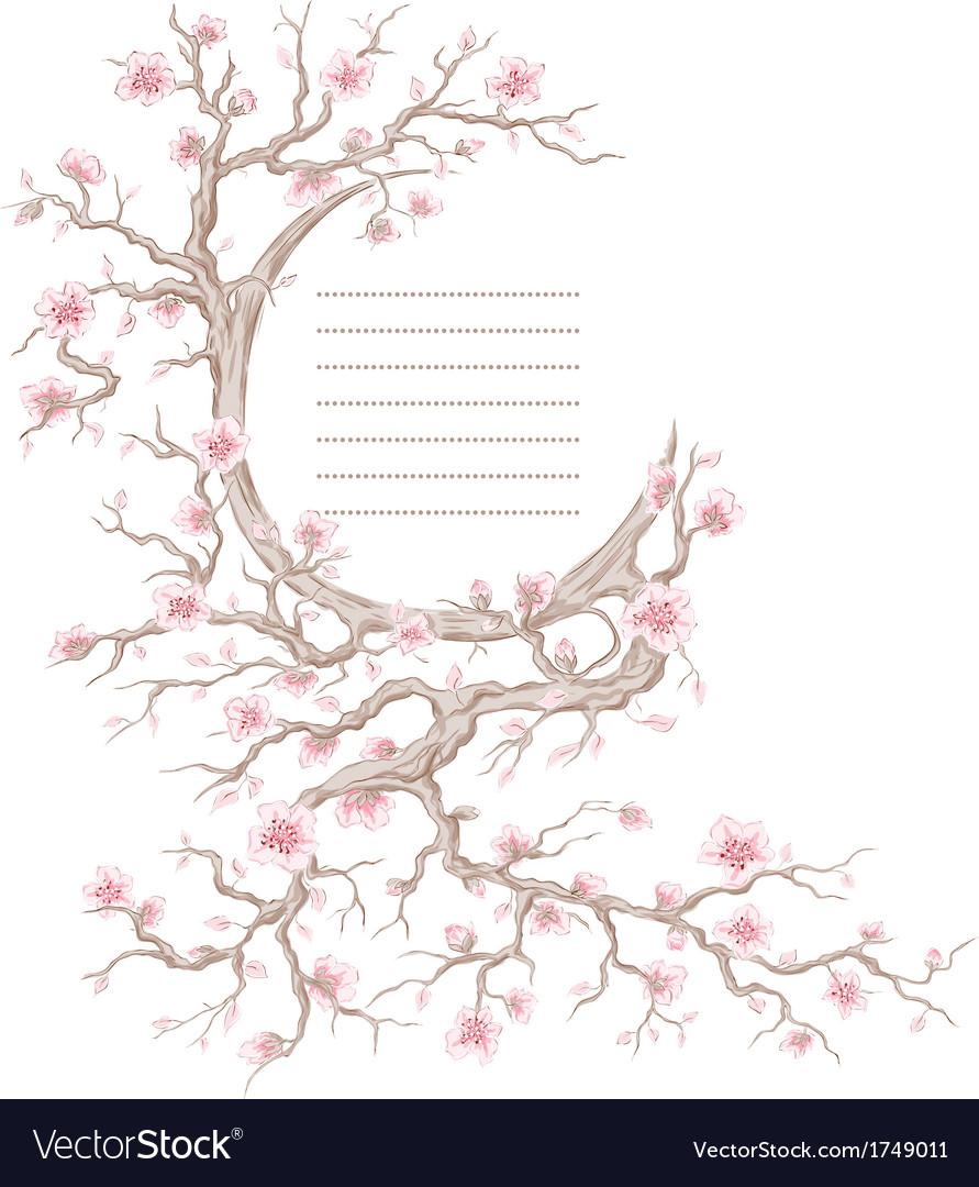 Hand drawn cherry blossom tree vector