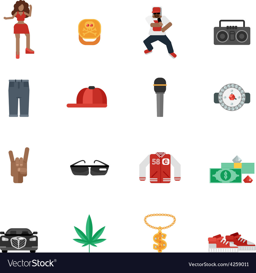 Rap music flat icons vector