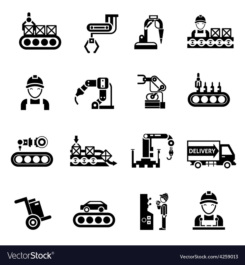 Production line icons black vector