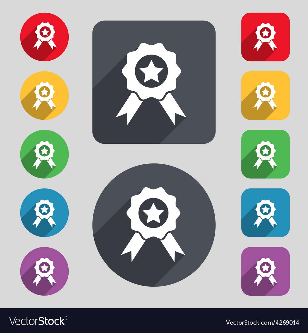 Award medal of honor icon sign a set of 12 colored vector