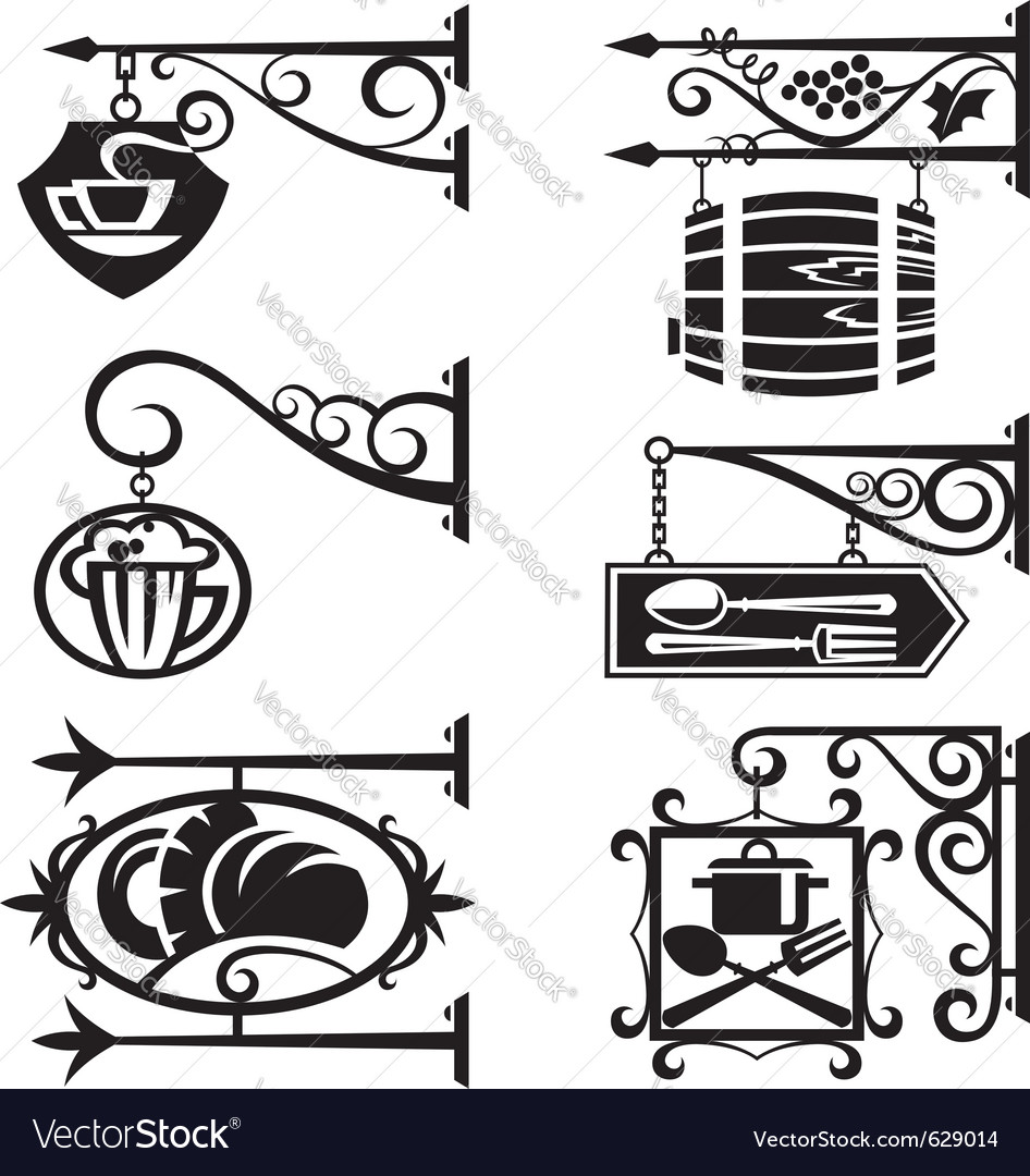Signs of food and beverages vector