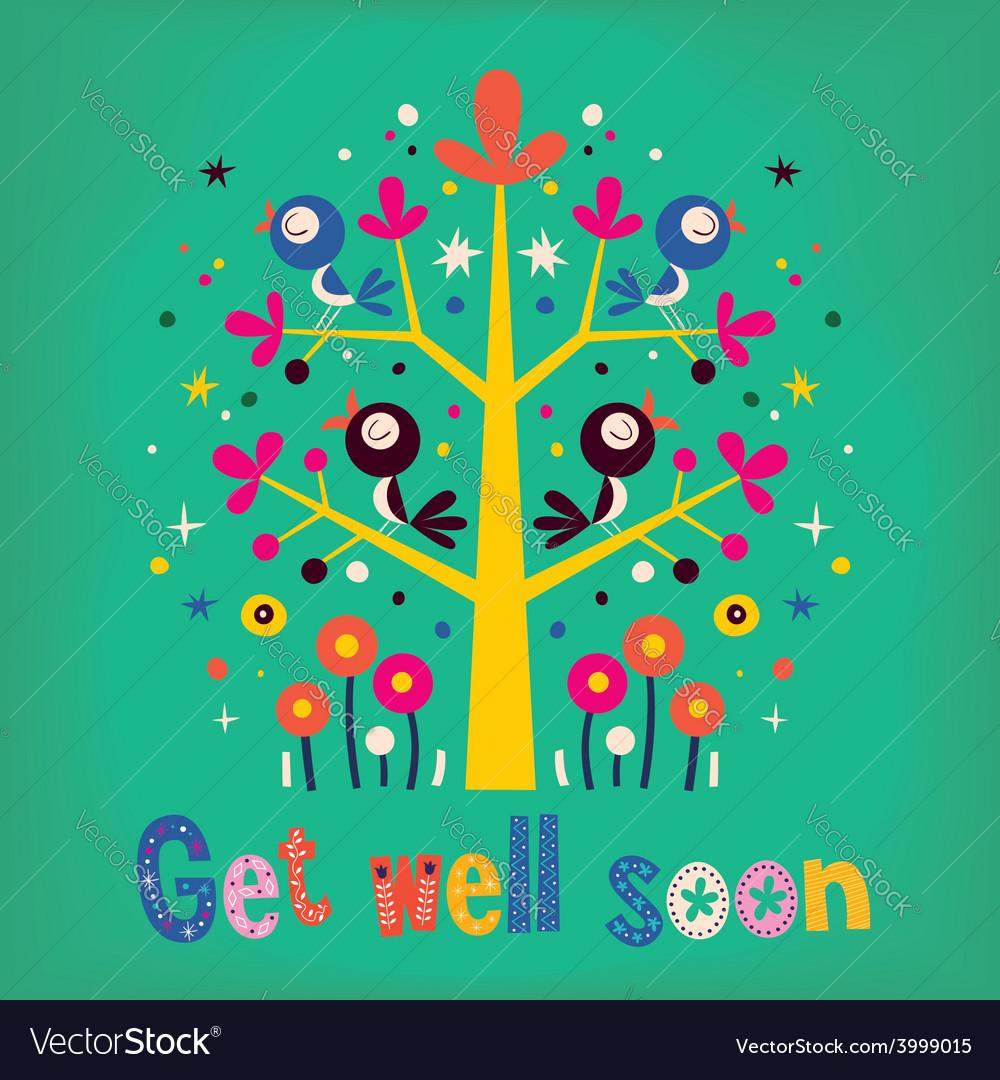 Get well soon card 4 vector