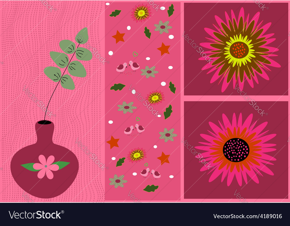 Pink flowers card vector