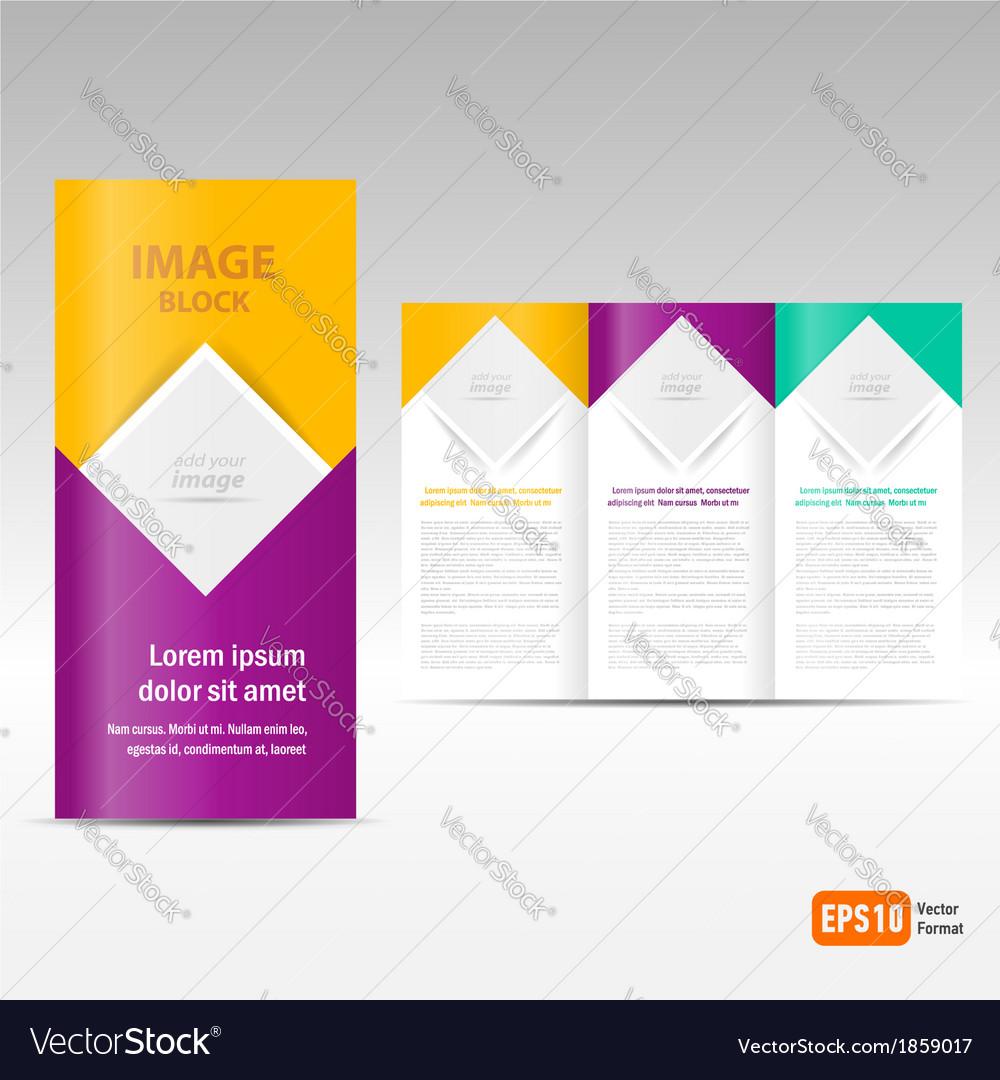 Brochure tri-fold design template block for images vector