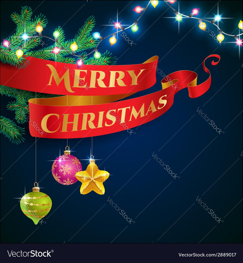 Ribbon christmas garland vector