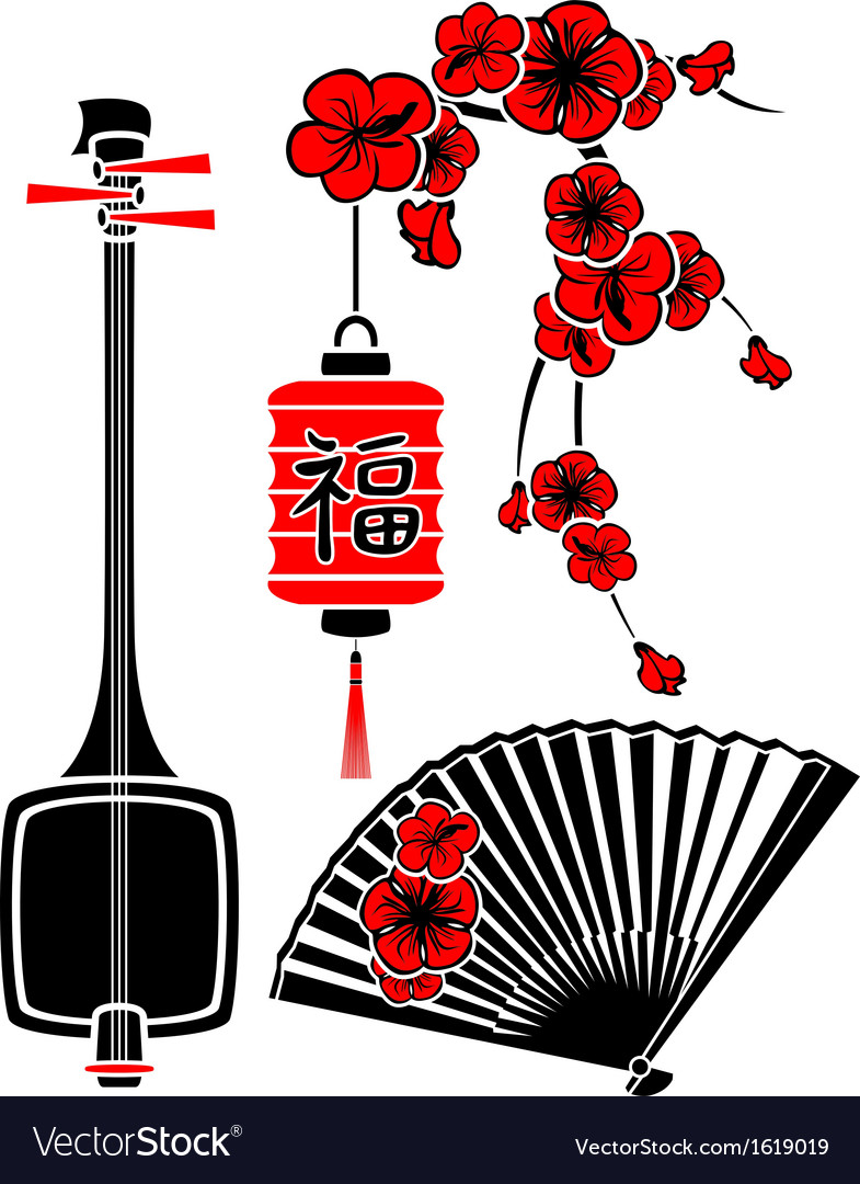 Set of japanese art shamisen sakura fan and light vector
