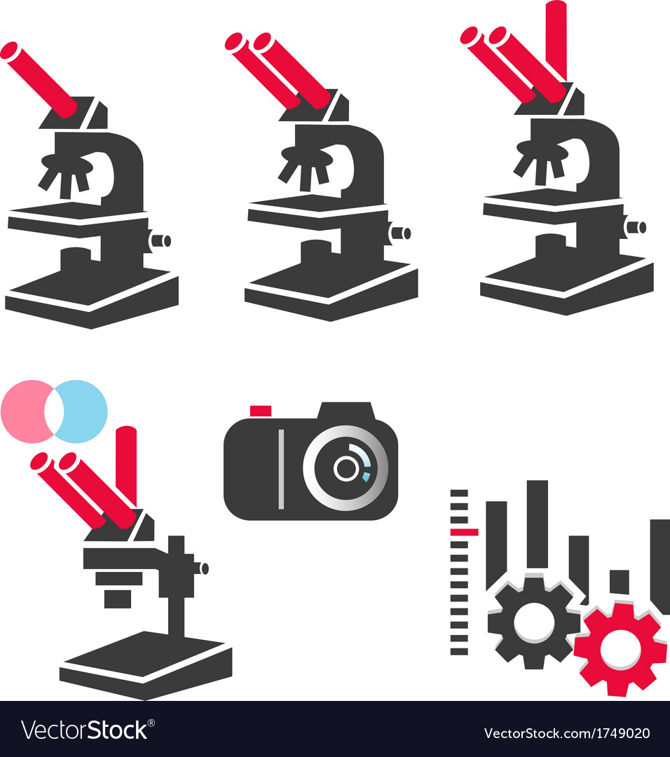 Microscope and optical equipment icon set vector