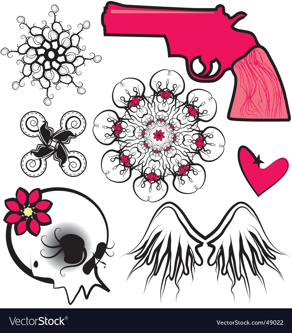 Punk design elements vector