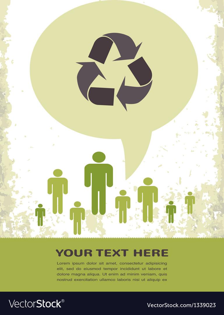 Retro recycling eco poster vector