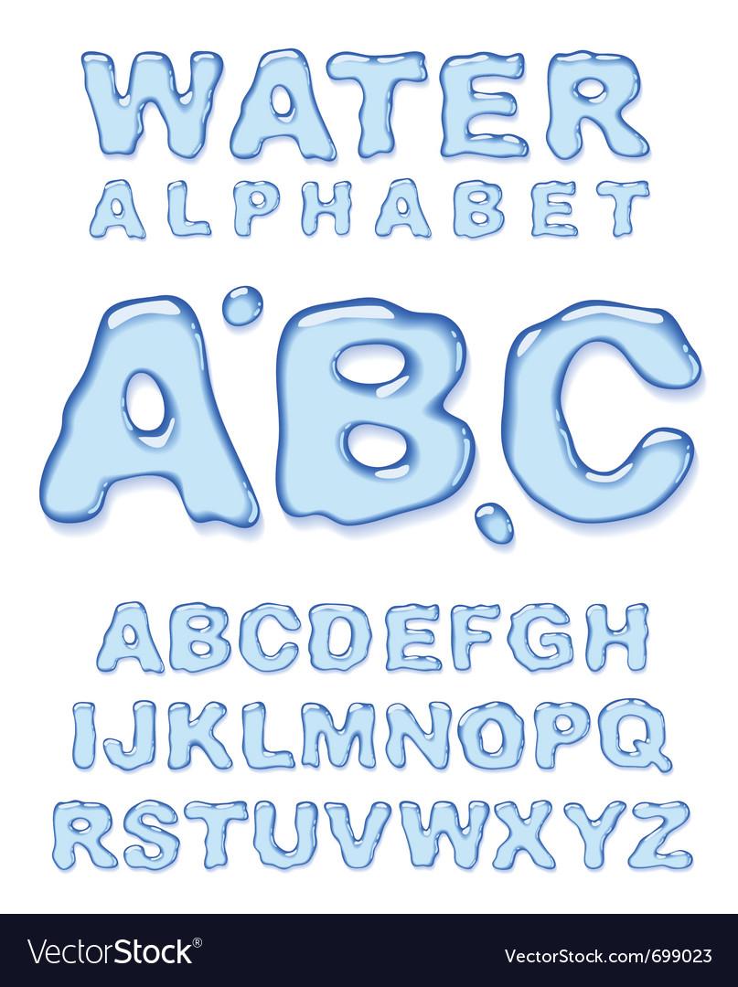 Water alphabet letters set vector