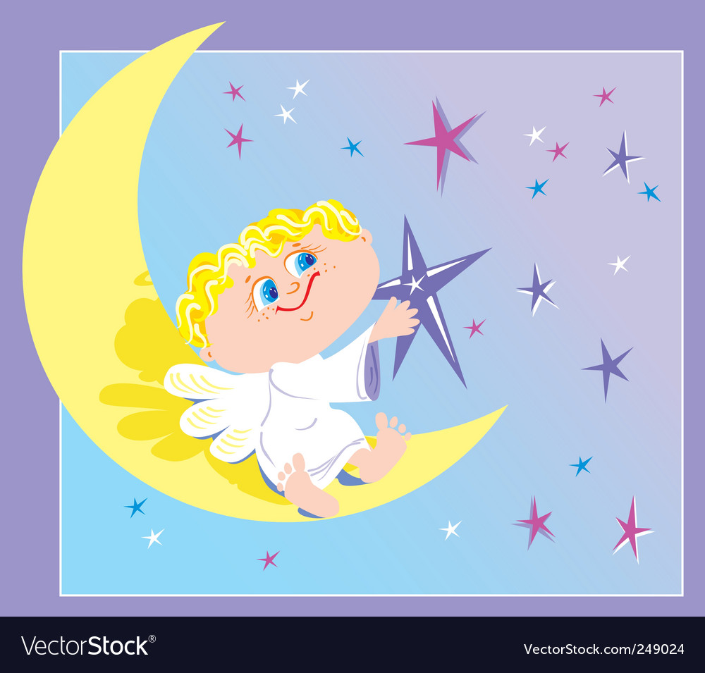 Angel and month vector