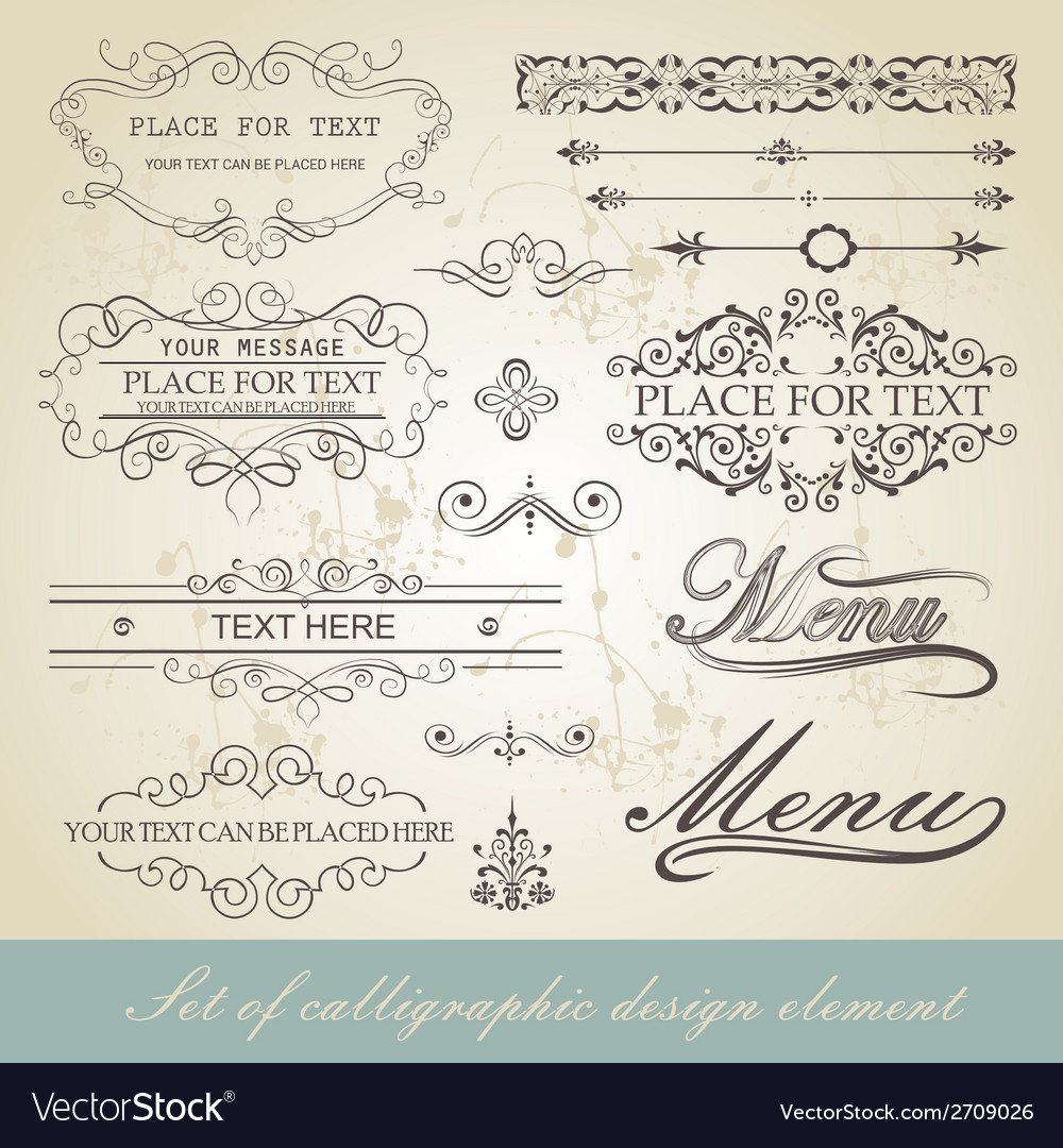 Menu calligraphic design element vector