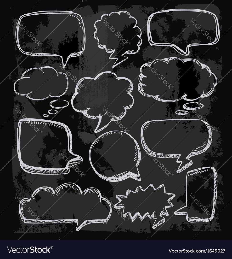 Speech bubbles on chalkboard vector