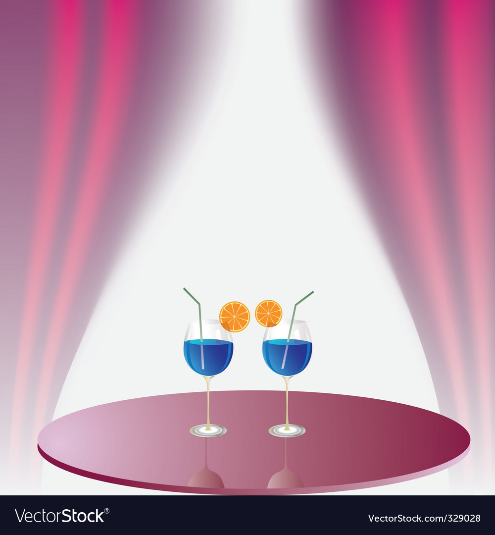 Two glasses with beverage vector