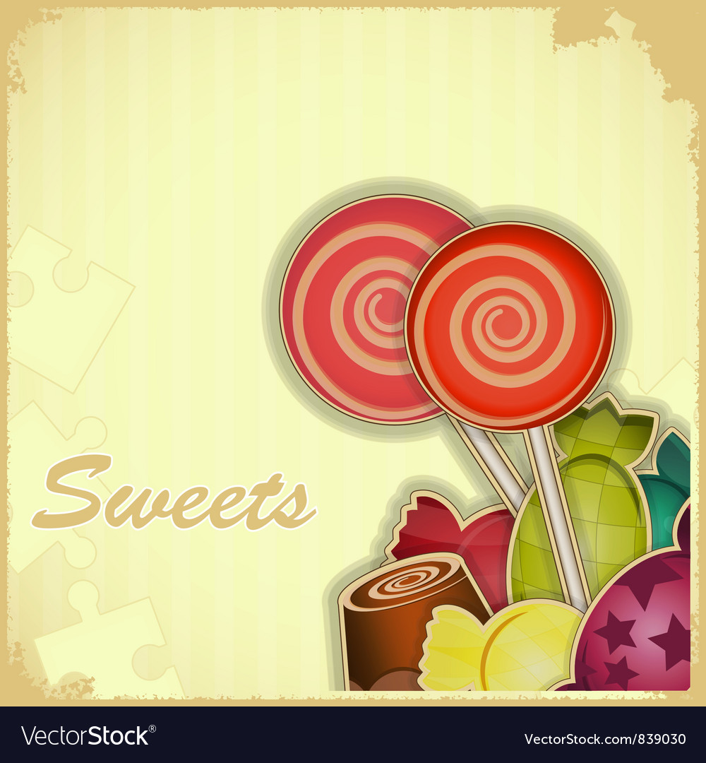 Sweet candy on retro background vector