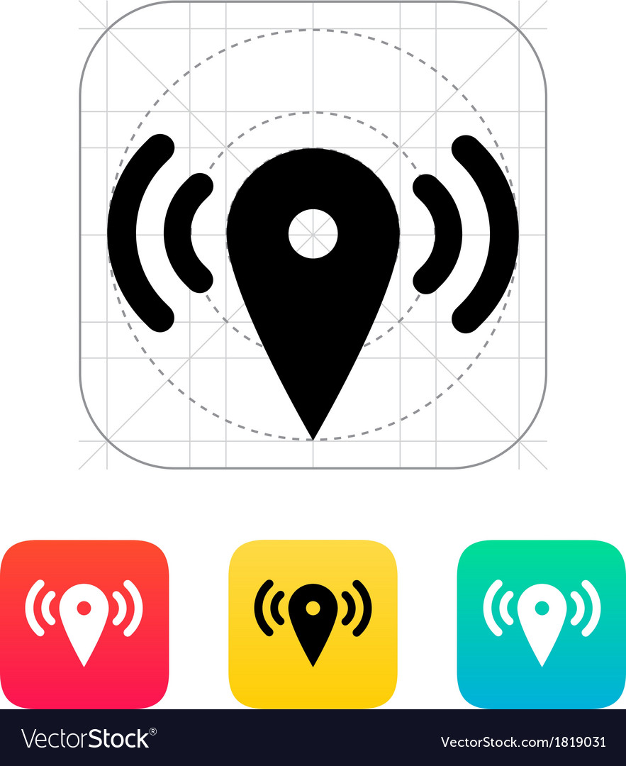 Map point signal icon vector