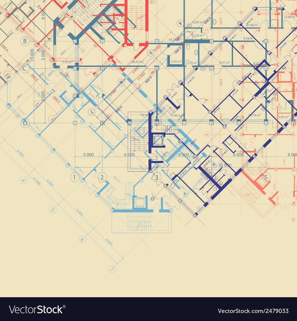 Beige background with plans of building vector