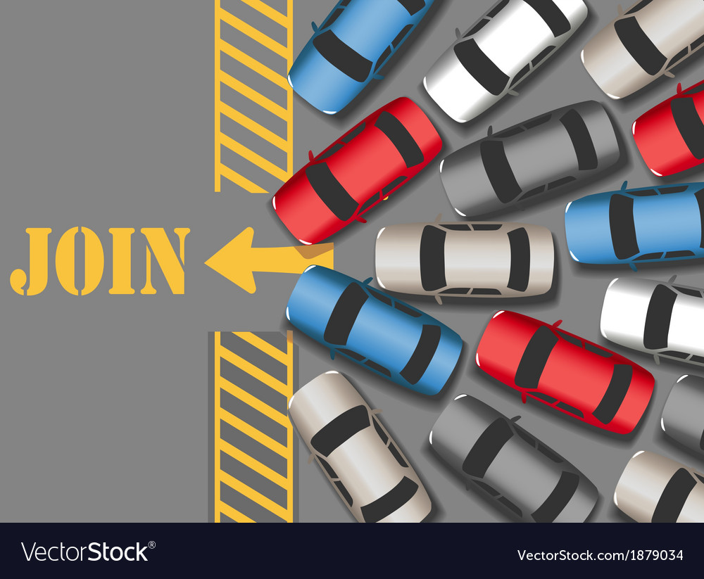 Cars traffic jam to join web site vector