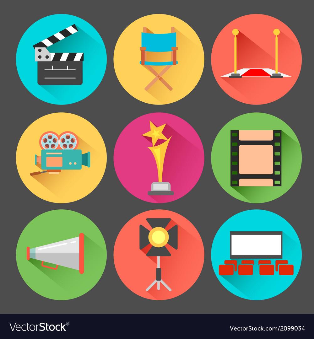 Movie and film icon set vector