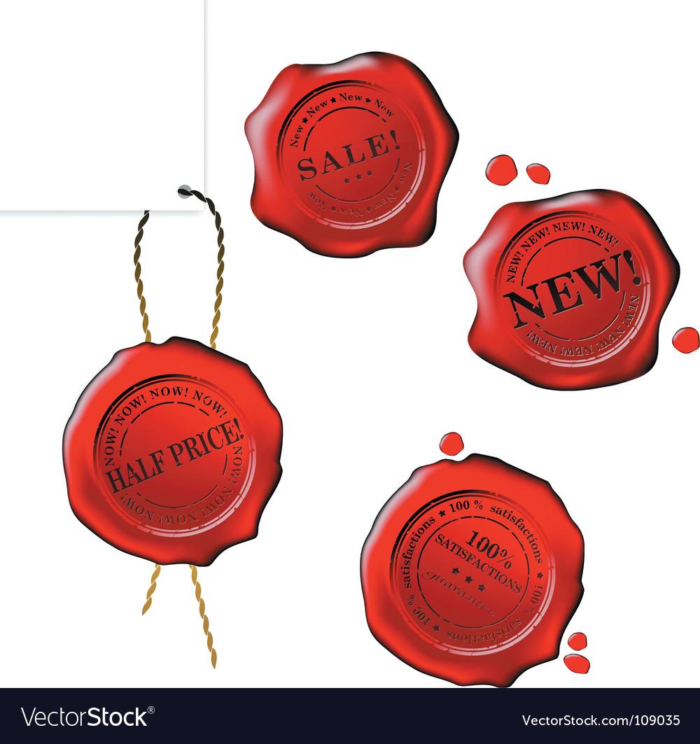 Sale wax stamp set vector