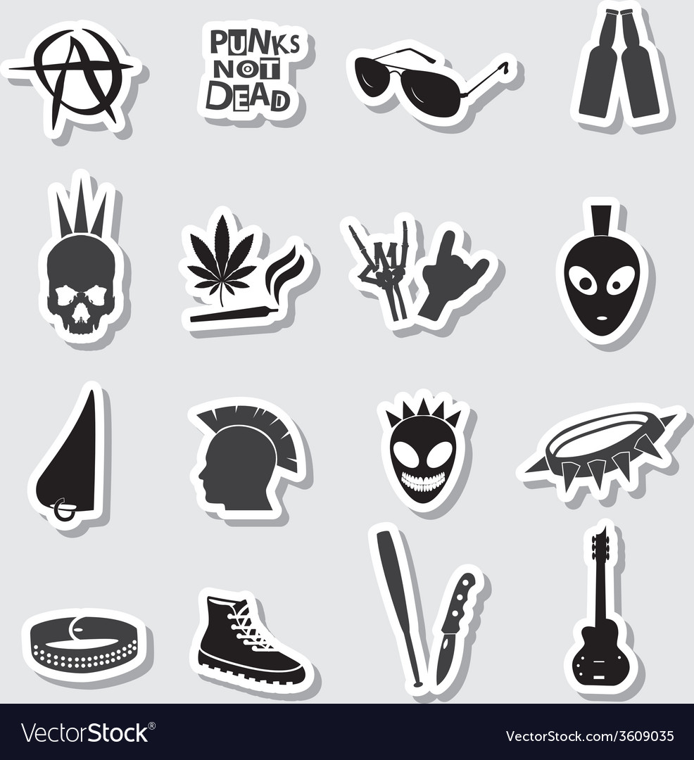 Various black punk stickers set eps10 vector