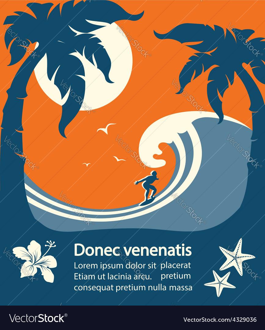 Surfer and big sea wave tropical island vector