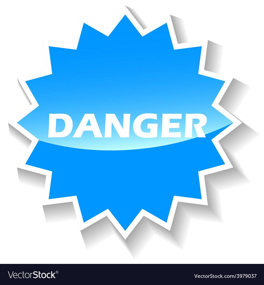 Danger blue icon vector
