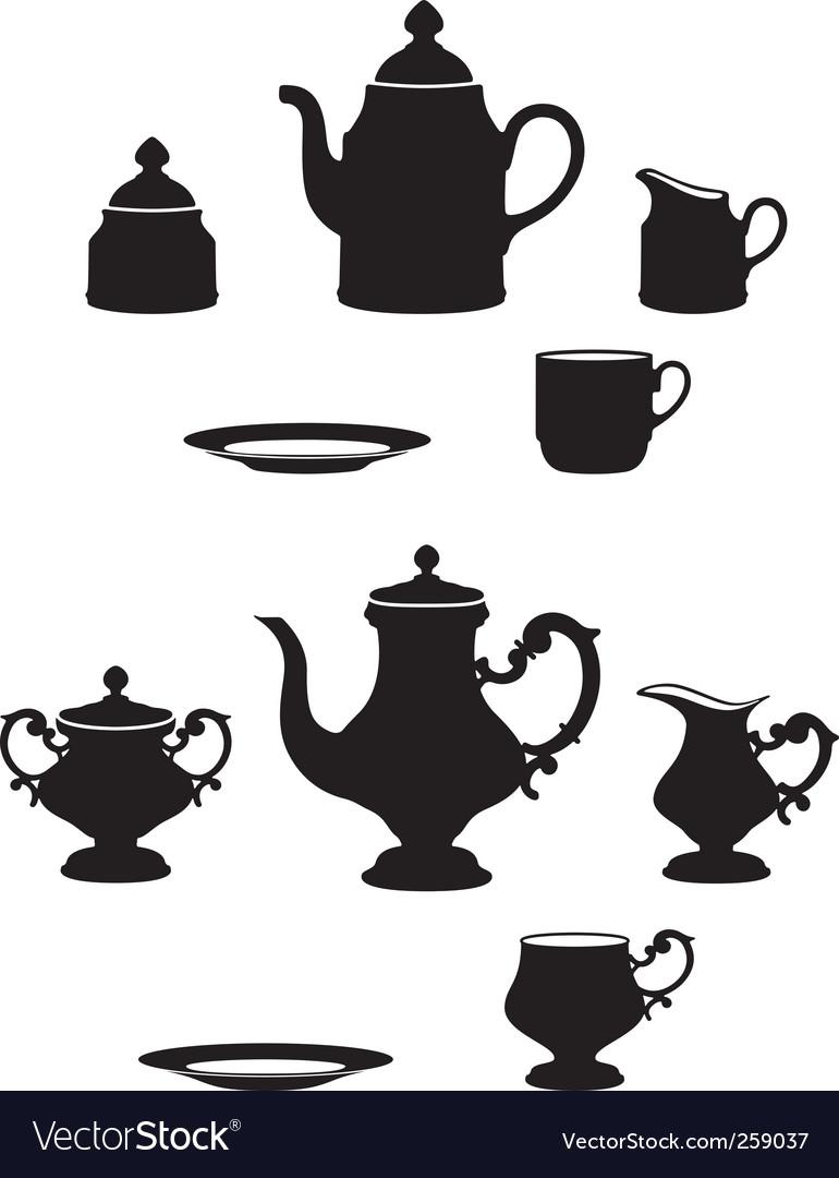 Tea sets vector