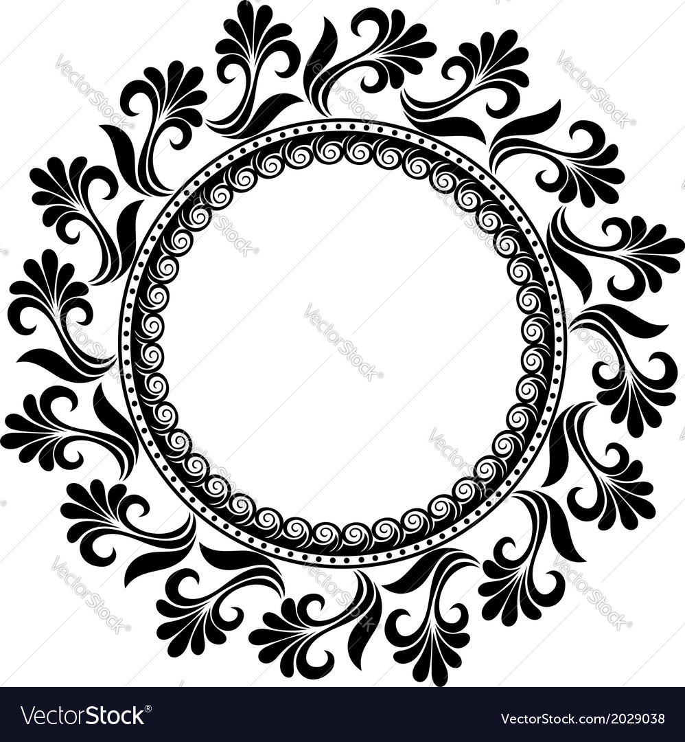 Beautiful deco floral circle vector