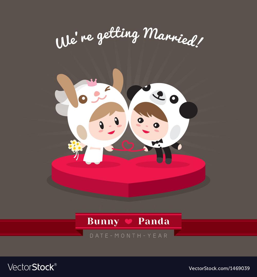 Cute kawaii groom and bride character vector