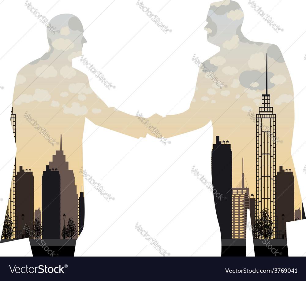 Double exposure handshake businessman on city vector