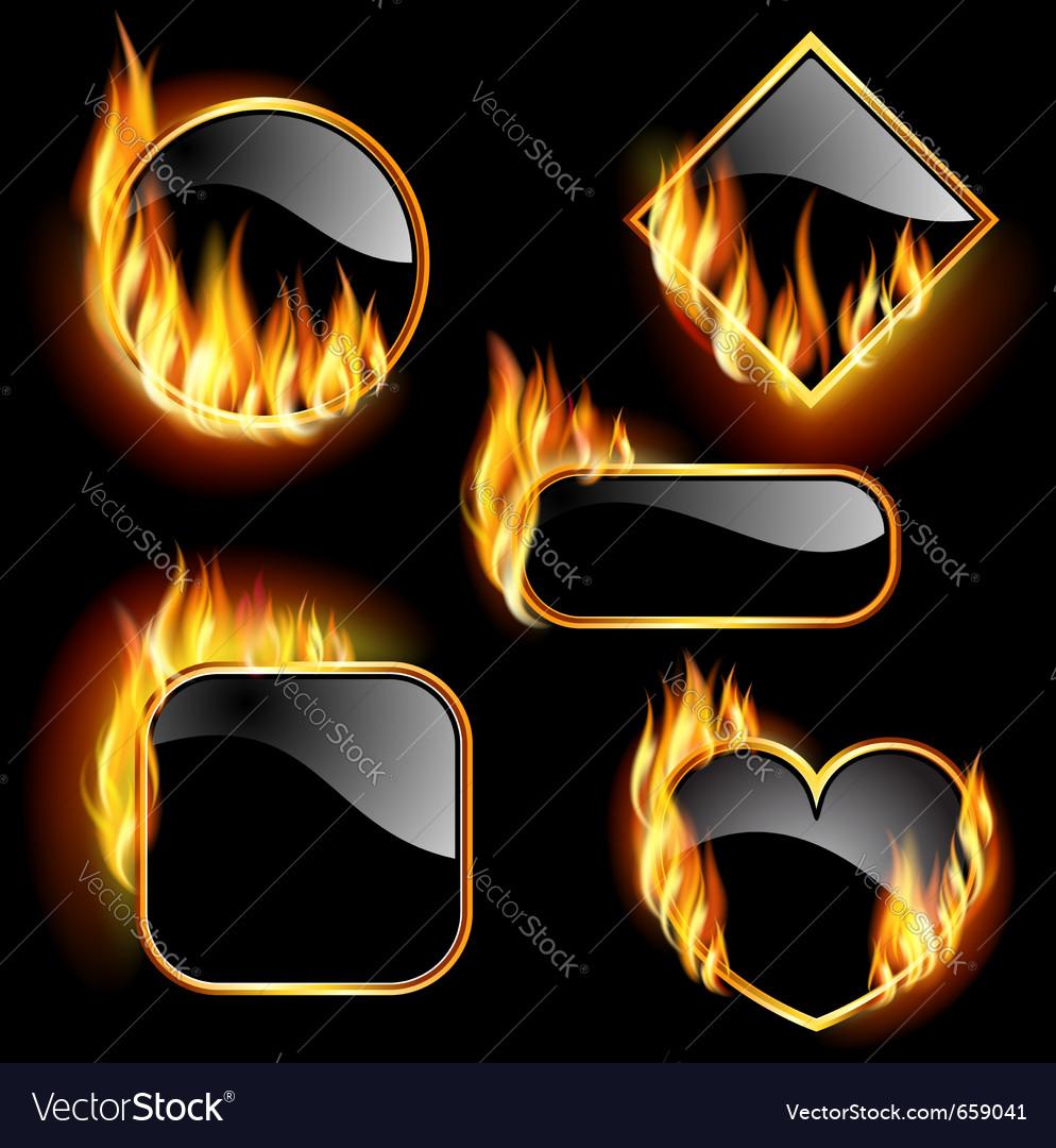 Flaming frames vector