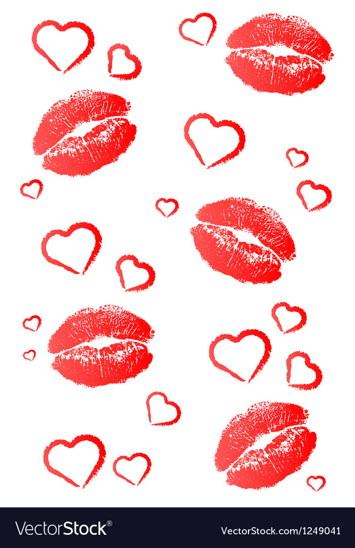 Kisses and hearts vector