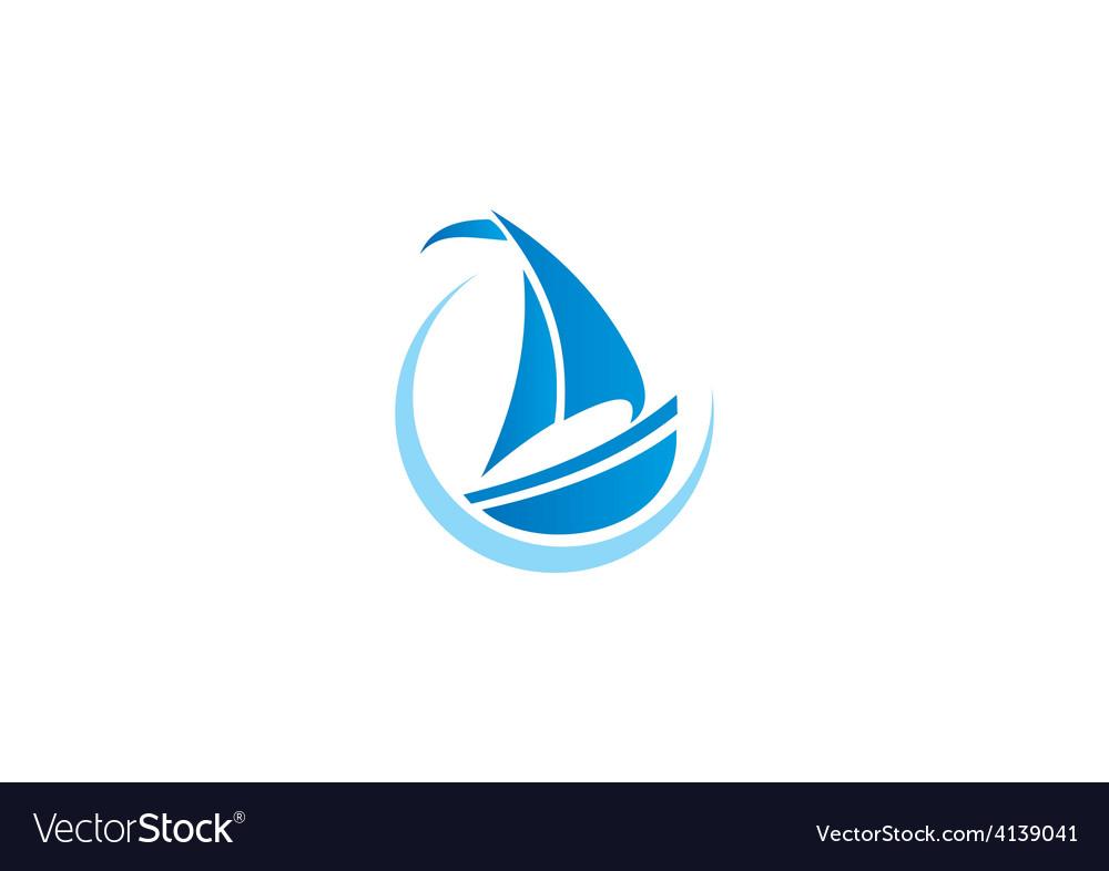 Sailing boat yacht abstract logo vector