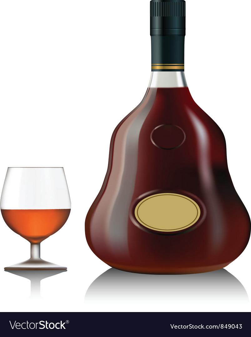 Cognac bottle vector