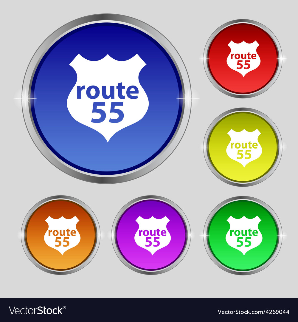 Route 55 highway icon sign round symbol on bright vector